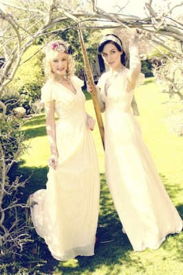 Verity & violet  wearing the Opal Empire Gown