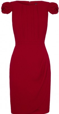 bordeaux_cap_sleeved_dress_red_frontview