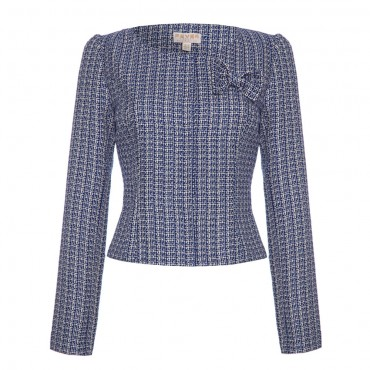 trudy_cropped_tweed_jacket_navy_cream_frontview