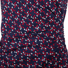 Lennox Side Ruched Dress Navy/Red/Cream