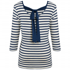 Brigitte Bow Top Cream/Navy