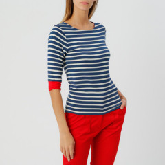 Brigitte Striped Top Navy/Cream/Red
