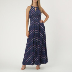 Instow Maxi Pleat Dress Navy/Red/Cream