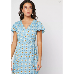 Lavinia Wrap Dress Sky