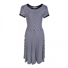 Daria Stripe Flare Dress Navy/White