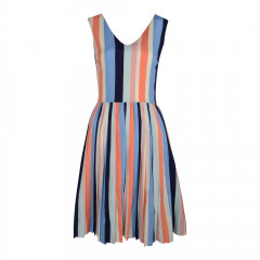 Stripe V Neck Dress Multi Stripe