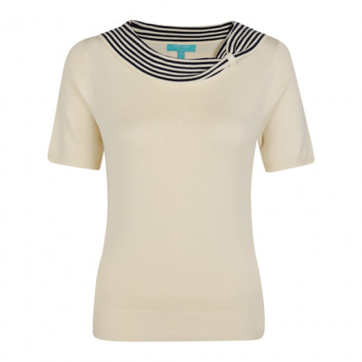 Annette Knitted Top Cream/Navy