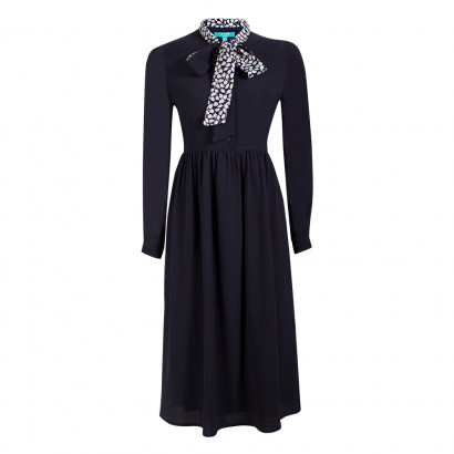 Pippa Bow Dress Navy/Navy/Cream