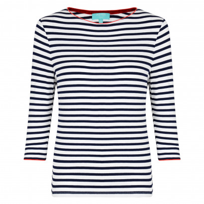 Bardot Piped Top Navy/White/Red
