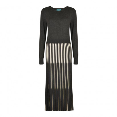 Lewes Dress Charcoal/Cream