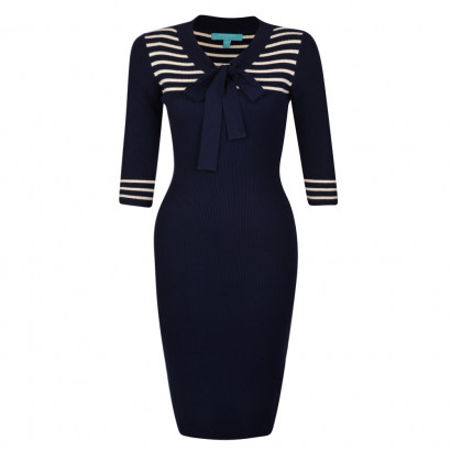 Lowell Dress Navy/Cream