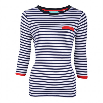 Daria Stripe Top Navy/White/Red