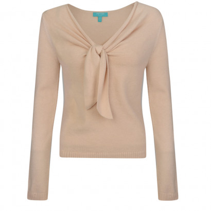 Zoey Tie Knit Top Cream