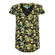 Lemon Blossom V Neck Top Black/Yellow