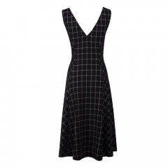 Highlands Deep V Neck Dress Black/White