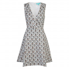 Ditsy Floral V Neck Dress Navy/Light Blue