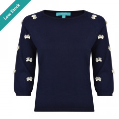 Knitted Bow Top Navy/Cream