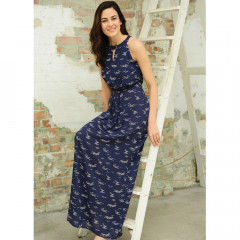 Padstow Maxi Pleat Dress Navy/Cream