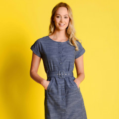 Harlow Button Down Dress Vintage Indigo