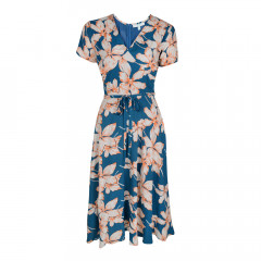 Kew Dress Dark Teal/Orange/Cream