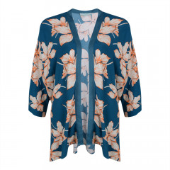 Kew Kimono Dark Teal/Orange/Cream
