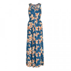 Kew Maxi Dress Dark Teal/Orange/Cream