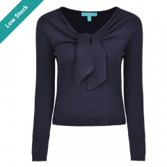 Zoey Tie Knit Top Navy