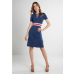 Claudia Dress Navy/Sand/Red