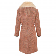 Enid Coat Orange/Brown/Cream