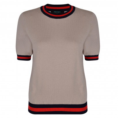 Claudia Knitted Top Sand/Navy/Red
