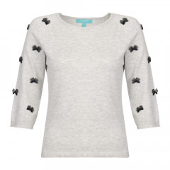 Knitted Bow Top Dove/Black