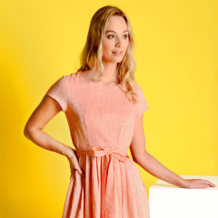 Thea Summer Dress Coral/White